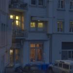 uit het raam van het hotel